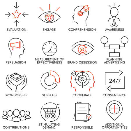 Vector set of 16 icons related to business management, strategy, career progress and business process. Mono line pictograms and infographics design elements - part 10 Illustration