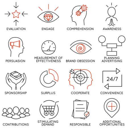Vektor-Satz von 16 Symbolen zu den Business Management, Strategie, Karrierefortschritt und Geschäftsprozess. Mono-Line-Piktogrammen und Infografiken Design-Elemente - Teil 10 Standard-Bild - 44387221