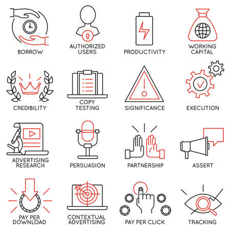 productividad: Conjunto de vectores de 16 iconos relacionados con la gestión de negocios, estrategia, desarrollo de la carrera y de procesos de negocio. Mono pictogramas de línea y la infografía elementos de diseño - parte 11