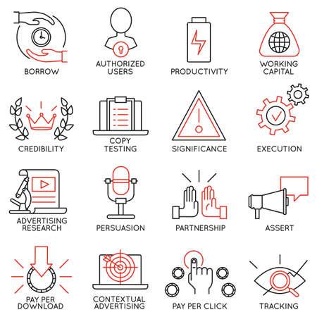 Vector set de 16 icônes liées à la gestion de l'entreprise, la stratégie, la progression de carrière et de processus d'affaires. Mono pictogrammes de ligne et des infographies éléments de conception - Partie 11