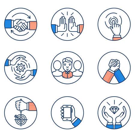 고객 관계 관리 및 비즈니스 협상 아이콘의 집합입니다. 평면 선형 무늬와 인포 그래픽 디자인 요소