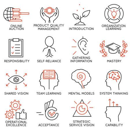 Vector set de 16 icônes liées à la gestion de l'entreprise, la stratégie, la progression de carrière et de processus d'affaires. pictogrammes mono-ligne et des infographies éléments de conception - Partie 6 Banque d'images - 44387232