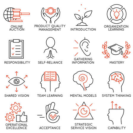 responsibilities: Vector set of 16 icons related to business management, strategy, career progress and business process. Mono line pictograms and infographics design elements - part 6