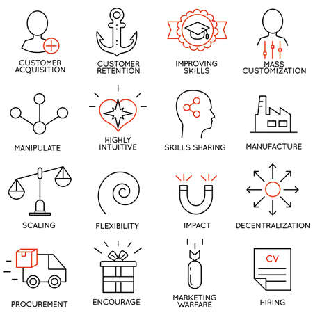 Vector set of 16 icons related to business management, strategy, career progress and business process. Mono line pictograms and infographics design elements - part 7