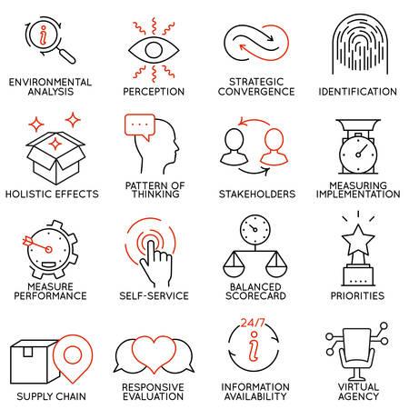 Conjunto de vectores de 16 iconos relacionados con la gestión de negocios, estrategia, desarrollo de la carrera y de procesos de negocio. Mono pictogramas de línea y la infografía elementos de diseño - parte 5