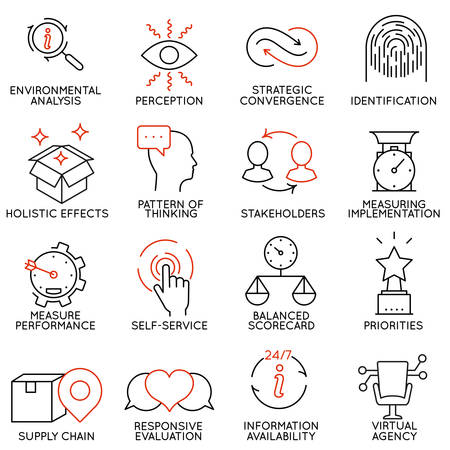 identify: Vector set of 16 icons related to business management, strategy, career progress and business process. Mono line pictograms and infographics design elements - part 5 Illustration