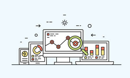 business service: Vector concept of website analytics search information and computing data analysis using electronic and mobile devices. Isolated on blue background