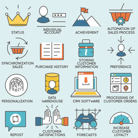 crm: Vector set of icons related to customer relationship management. Flat line pictograms and infographics design elements - part 1