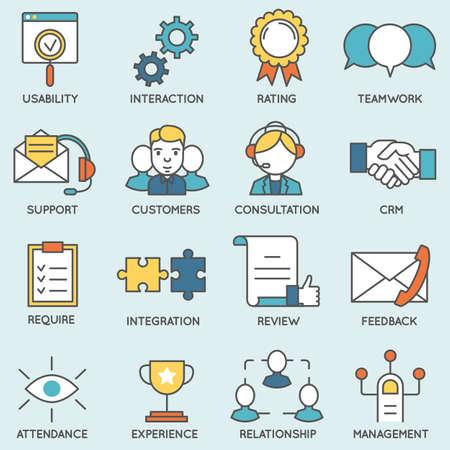 Vector conjunto de iconos relacionados con la gestión de relaciones con clientes. Pictogramas línea plana y elementos de diseño infografía - Parte 2 Ilustración de vector