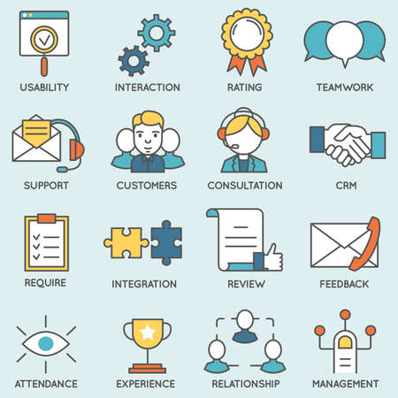 crm: Vector set of icons related to customer relationship management. Flat line pictograms and infographics design elements - part 2