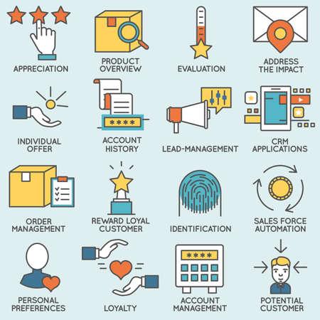 고객 관계 관리와 관련된 아이콘의 집합입니다. 플랫 라인 무늬와 인포 그래픽 디자인 요소 - 3 부