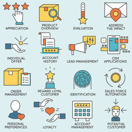 crm: Vector set of icons related to customer relationship management. Flat line pictograms and infographics design elements - part 3