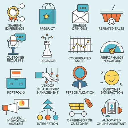 고객 관계 관리와 관련된 아이콘의 집합입니다. 플랫 라인 무늬와 인포 그래픽 디자인 요소 - 4 부 일러스트
