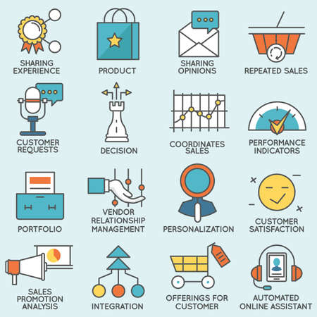 crm: Vector set of icons related to customer relationship management. Flat line pictograms and infographics design elements - part 4