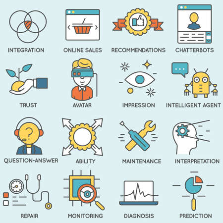 relationship management: Vector set of icons related to customer relationship management. Flat line pictograms and infographics design elements - part 5