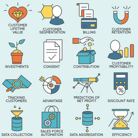 relationship management: Vector set of icons related to customer relationship management. Flat line pictograms and infographics design elements - part 6 Illustration