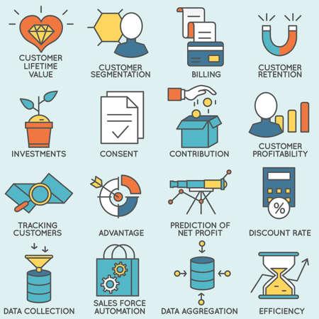 Ensemble d'icônes liées à la gestion de la relation client