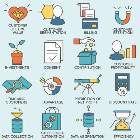 client: Set of icons related to customer relationship management