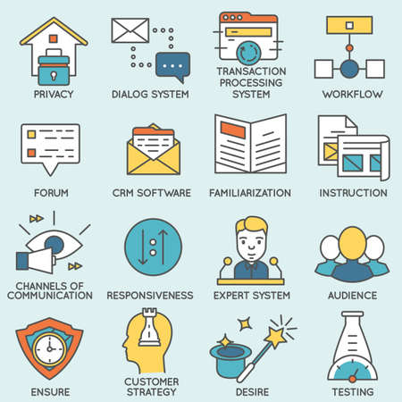 negotiation business: Set of icons related to customer relationship management