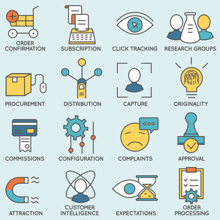 business relationship: Set of icons related to customer relationship management
