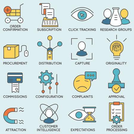 Set van pictogrammen in verband met customer relationship management