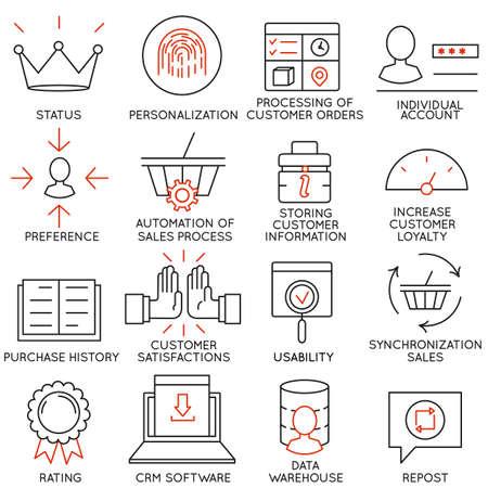 Set di 16 icone relative al commercio Vettoriali