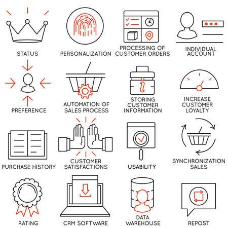 Set of 16 icons related to business Иллюстрация