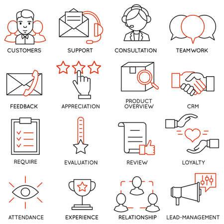 ビジネスに関連する 16 のアイコンのセット  イラスト・ベクター素材