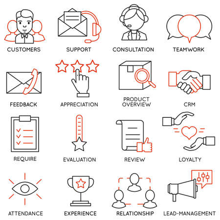 Set of 16 icons related to business Ilustracja