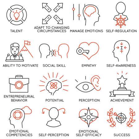 empatia: Conjunto de 16 iconos relacionados con la gestión empresarial