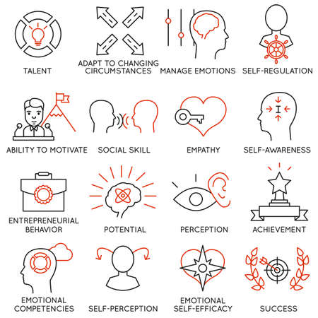 talent management: Set of 16 icons related to business management Illustration