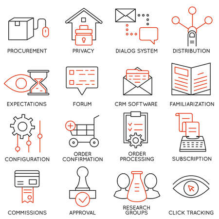 crm: Set of 16 icons related to business management Illustration