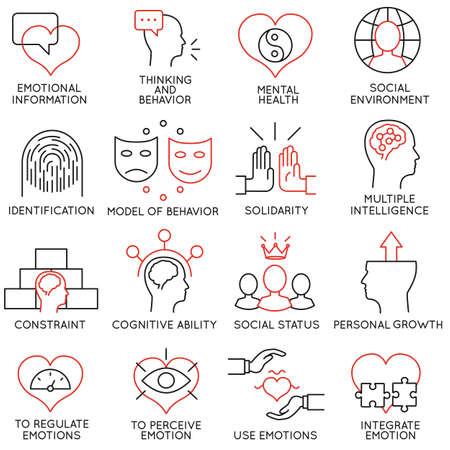 inteligencia emocional: Conjunto de 16 iconos relacionados con la gestión empresarial
