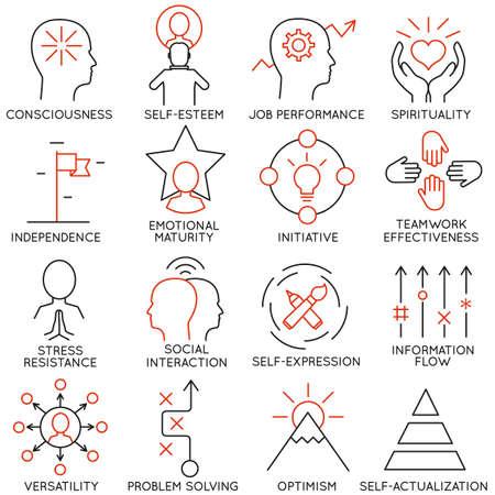 optimismo: Conjunto de vectores de 16 iconos relacionados con la gestión de negocios, estrategia, desarrollo de la carrera y de procesos de negocio. Mono pictogramas de línea y la infografía elementos de diseño - parte 21