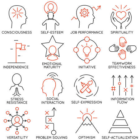 communication capability: Vector set of 16 icons related to business management, strategy, career progress and business process. Mono line pictograms and infographics design elements - part 21