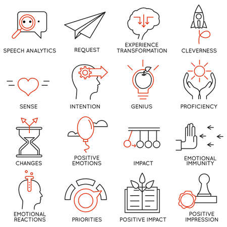 Vector set of 16 icons related to business management, strategy, career progress and business process. Mono line pictograms and infographics design elements - part 23 Vectores