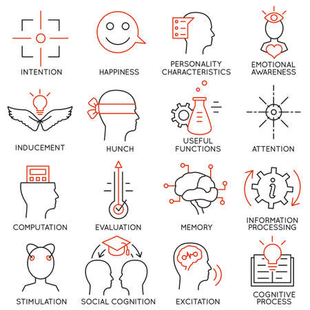 personality development: Vector set of 16 icons related to business management, strategy, career progress and business process. Mono line pictograms and infographics design elements - part 22