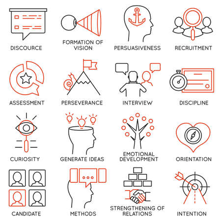 communication capability: Vector set of 16 icons related to business management, strategy, career progress and business process. Mono line pictograms and infographics design elements - part 24 Illustration