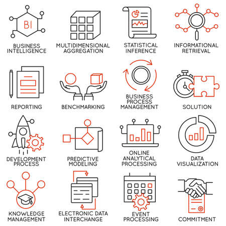 Vector set van 16 pictogrammen met betrekking tot business management, strategie, carrièreverloop en business process. Mono lijn pictogrammen en infographics design elementen - deel 25 Stock Illustratie