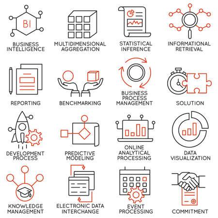 Vector set van 16 pictogrammen met betrekking tot business management, strategie, carrièreverloop en business process. Mono lijn pictogrammen en infographics design elementen - deel 25 Stockfoto - 47112755