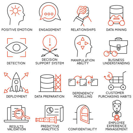 customer: Vector set of 16 icons related to business management, strategy, career progress and business process. Mono line pictograms and infographics design elements - part 26