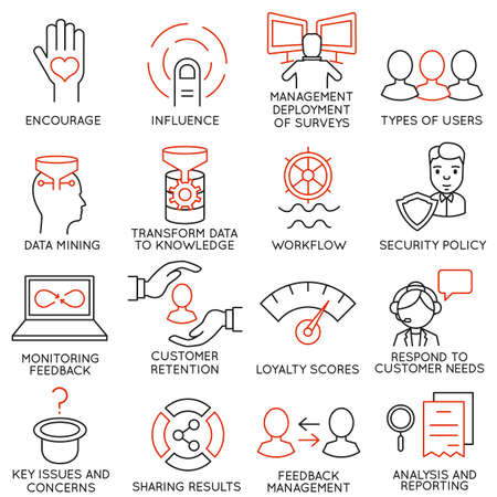 feedback: Vector set of 16 icons related to business management, strategy, career progress and business process. Mono line pictograms and infographics design elements - part 27