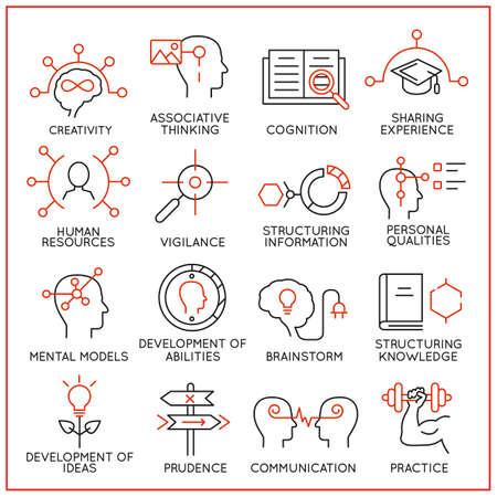 eficiencia: Conjunto de vectores de 16 iconos relacionados con la gestión de recursos humanos, los procesos mentales y habilidades útiles. Mono pictogramas de línea y la infografía elementos de diseño - parte 1