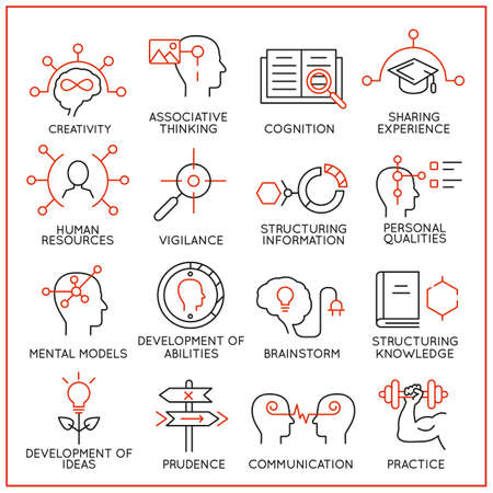 symbol vigilance: Vector set of 16 icons related to human resource management, mental process and useful abilities. Mono line pictograms and infographics design elements - part 1