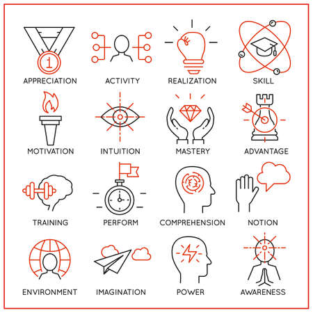 mangement: Vector set of 16 icons related to human resource management, mental process and useful abilities. Mono line pictograms and infographics design elements - part 2 Vettoriali