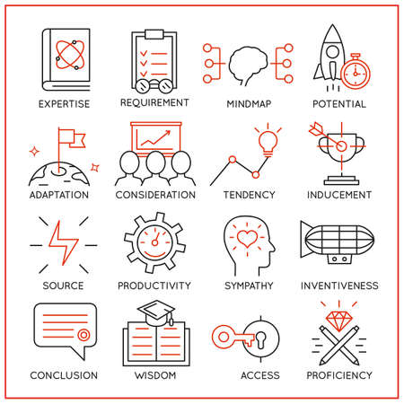 Vector set of 16 icons related to human resource management, mental process and useful abilities. Mono line pictograms and infographics design elements - part 3 Çizim