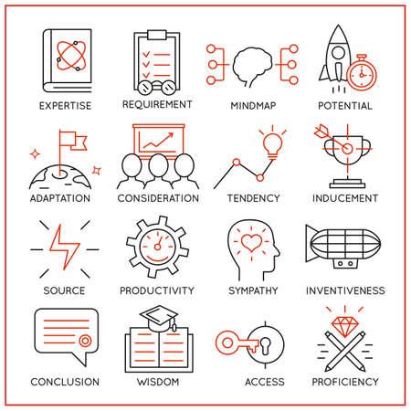 Vektor-Set von 16 Icons im Zusammenhang mit Human Resource Management, mentalen Prozess und nützliche Fähigkeiten. Mono Linie Piktogramme und Infografik-Design-Elemente - Teil 3
