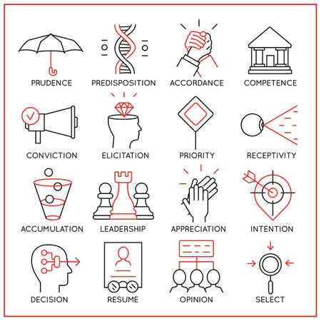 Vector set of 16 icons related to human resource management, mental process and useful abilities. Mono line pictograms and infographics design elements - part 4 矢量图像