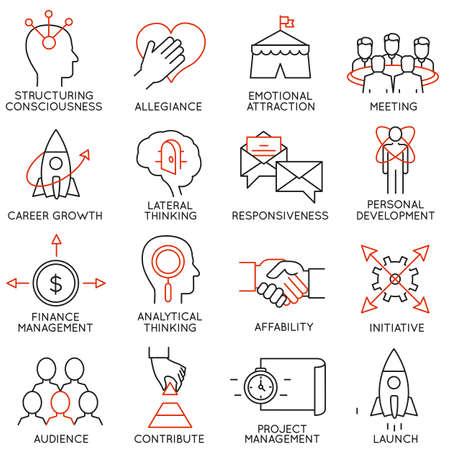 crecimiento personal: Conjunto de vectores de 16 iconos relacionados con la gestión de negocios, estrategia, desarrollo de la carrera y de procesos de negocio. Mono pictogramas de línea y la infografía elementos de diseño - parte 29 Vectores