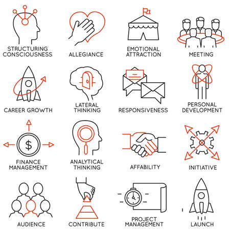 experience: Vector set of 16 icons related to business management, strategy, career progress and business process. Mono line pictograms and infographics design elements - part 29